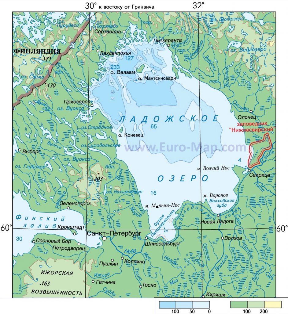 Рыбалка на Ладоге. Карта глубин