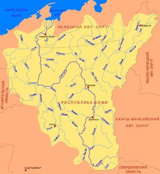 Карта реки Печоры